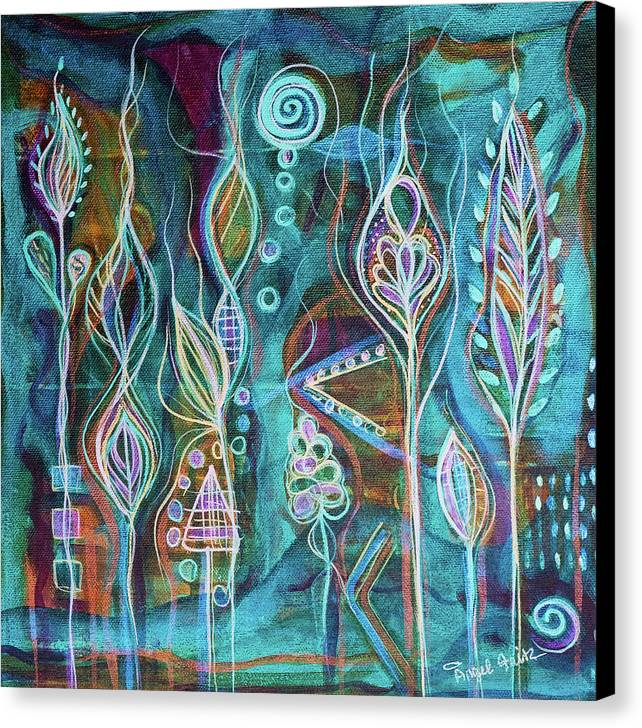 Intuitive Art Canvas Print featuring the painting Glow by Angel Fritz