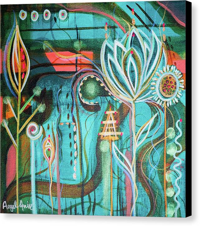 Intuitive Art Canvas Print featuring the painting Happy by Angel Fritz