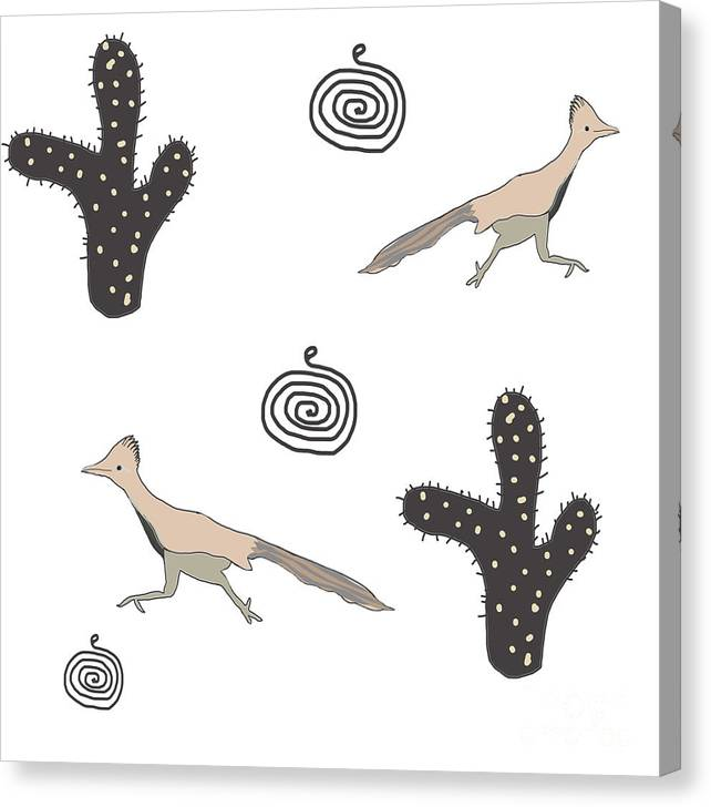 Southwest Canvas Print featuring the painting Southwest Design Roadrunner And Cactus by Irene Irene