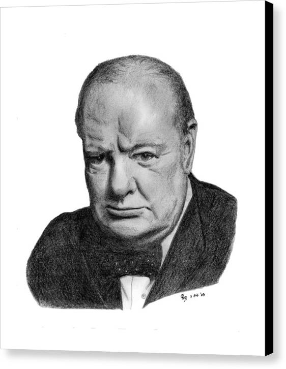 Churchill Canvas Print featuring the drawing Winston Churchill by Charles Vogan