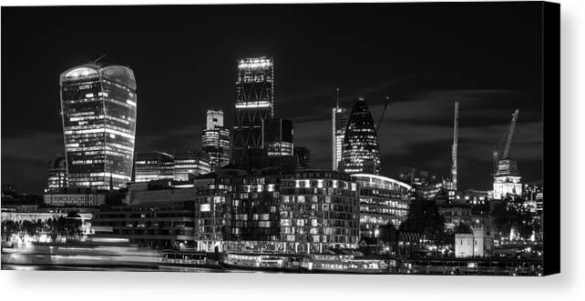 Landscape Canvas Print featuring the photograph Beautiful Black And White Image Of London City At Night With Lov by Matthew Gibson