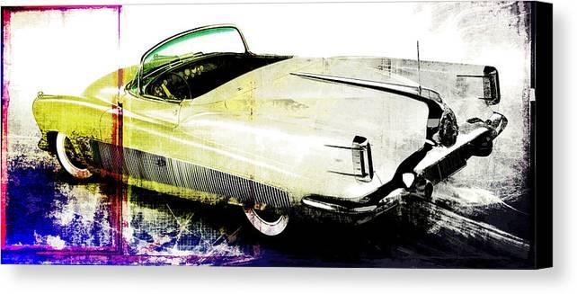 Vintage Canvas Print featuring the digital art Grunge Retro Car by David Ridley