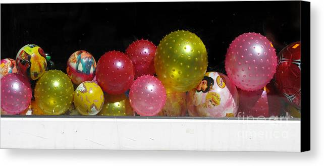 Still Life Canvas Print featuring the photograph Colorful Balls In The Shop Window by Ausra Huntington nee Paulauskaite