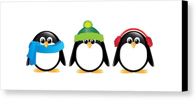 Adorable Canvas Print featuring the digital art Penguins Isolated by Jane Rix