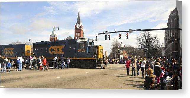 Fayetteville Canvas Print featuring the photograph Fayetteville Christmas Parade by Matt Plyler