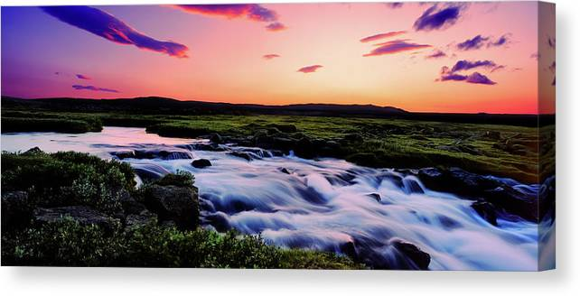 Photography Canvas Print featuring the photograph Gaski Waterfall, Grafarlandaa River by Panoramic Images