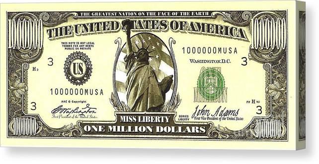 One Million Dollar Bill Canvas Print / Canvas Art by ...