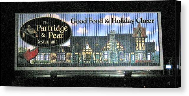 Photograph Canvas Print featuring the photograph The Partridge And Pear Restaurant by Marian Bell