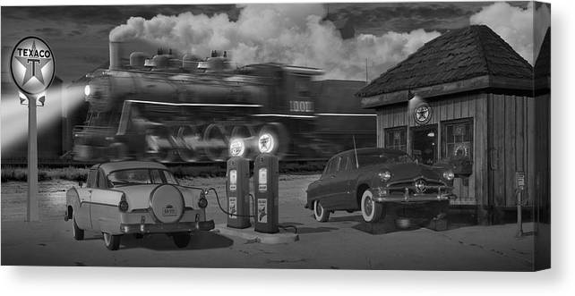 Transportation Canvas Print featuring the photograph The Pumps - Panoramic by Mike McGlothlen