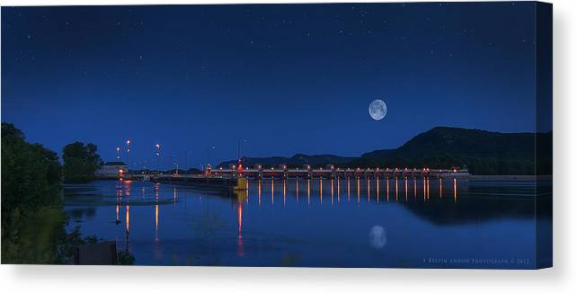 Trempealeau Canvas Print featuring the photograph Trempealeau Damn Under A Full Moon by Kelvin Andow