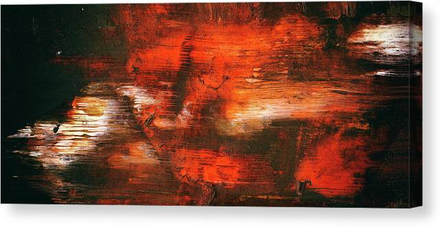 After Midnight Black Orange And White Contemporary Abstract Art Canvas Print