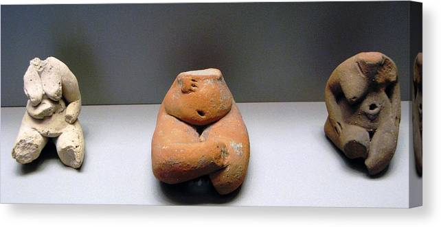 Neolithic Figurine Canvas Print featuring the photograph Pregnant Seated Woman by Andonis Katanos