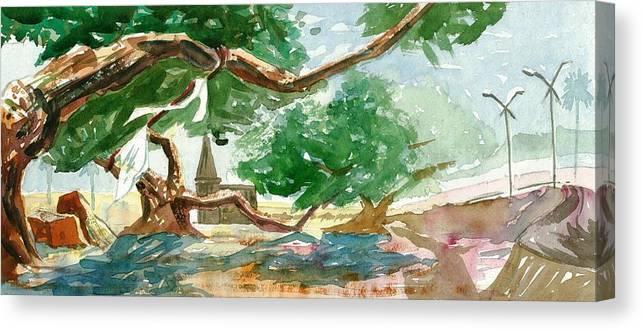 Makarand Joshi Canvas Print featuring the painting Resting Shadow by Makarand Joshi