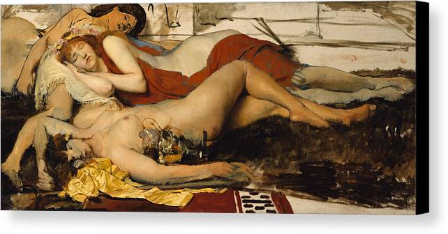Nude Canvas Print featuring the painting Exhausted Maenides by Sir Lawrence Alma Tadema