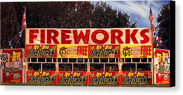 Fireworks Canvas Print featuring the photograph Fireworks by Ron Regalado