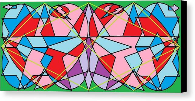 Diamond Canvas Print featuring the digital art Green Diamond by Rachael McIntosh