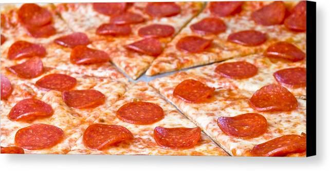 Pepperoni Pizza Canvas Print featuring the photograph Pepperoni Pizza by Jim DeLillo