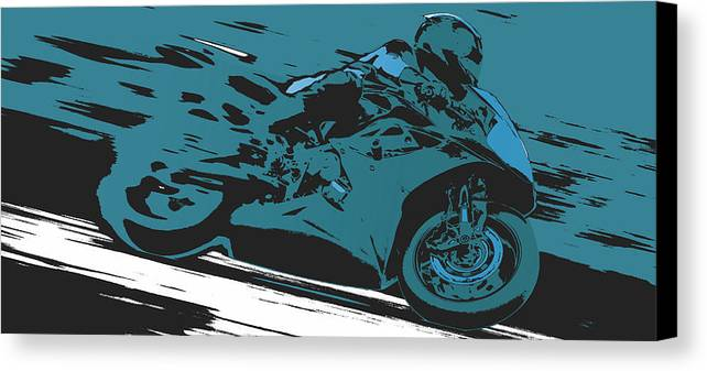 Sportbike Canvas Print featuring the digital art Sportbike Racer by David Holm