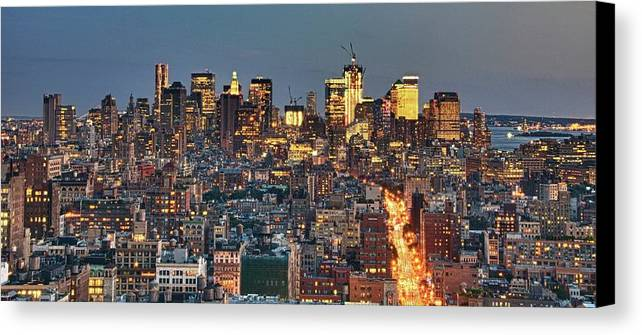 Horizontal Canvas Print featuring the photograph Downtown At Dusk by Photo by Dan Goldberger