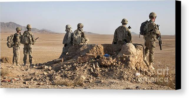 Operation Enduring Freedom Canvas Print featuring the photograph U.s. Army Soldiers At A Checkpoint by Stocktrek Images