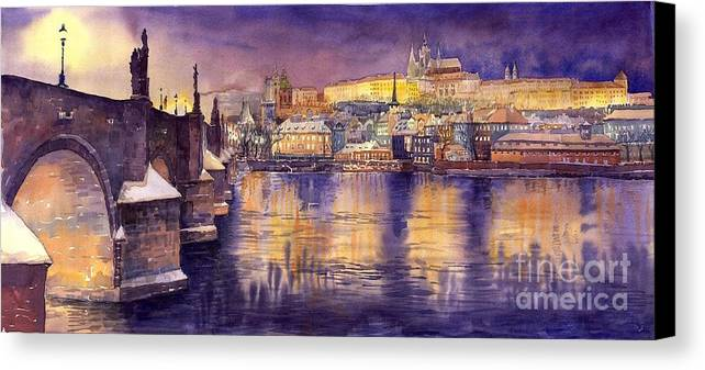 Cityscape Canvas Print featuring the painting Charles Bridge And Prague Castle With The Vltava River by Yuriy Shevchuk