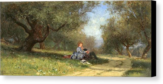 Alfred Wordsworth Thompson Canvas Print featuring the painting Country Couple by Alfred Wordsworth Thompson