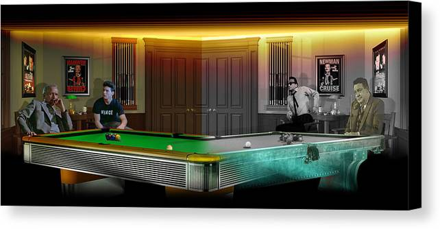 Pool Canvas Print featuring the digital art Hustlers Of Color by Draw Shots