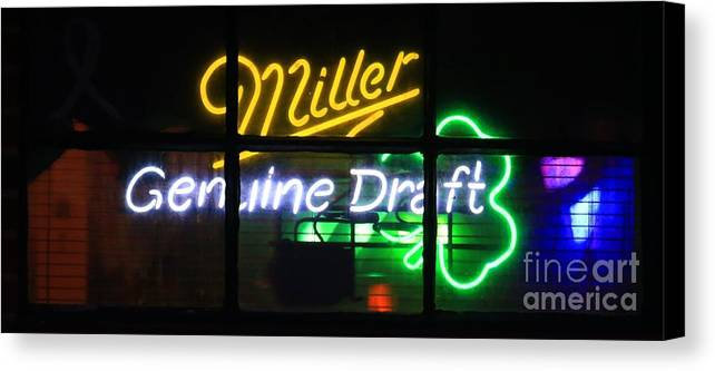 Neon Canvas Print featuring the photograph Neon Miller Beer by Douglas Sacha
