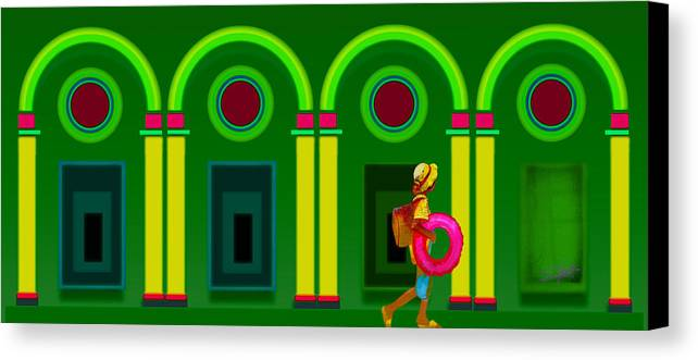 Classical Canvas Print featuring the digital art The Green Door by Charles Stuart