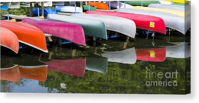Canoes Canvas Print featuring the photograph canoes - Lake Wingra - Madison by Steven Ralser
