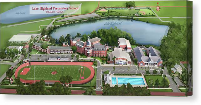 Lake Highland Preparatory School Canvas Print featuring the painting Lake Highland Preparatory School by Rhett and Sherry Erb
