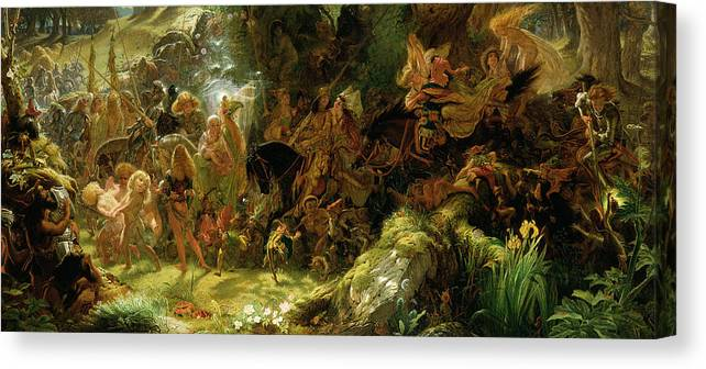 Fairy Canvas Print featuring the painting The Fairy Raid by Sir Joseph Noel Paton