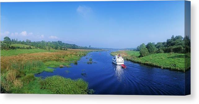Cloud Canvas Print featuring the photograph Boat In The River, Shannon-erne by The Irish Image Collection