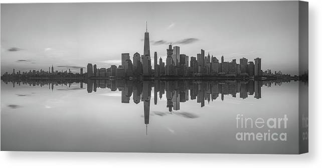 Lower Manhattan Canvas Print featuring the photograph City Skyline Reflections Panorama 1 by Michael Ver Sprill