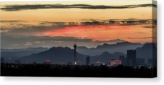 Canvas Print featuring the photograph Las Vegas Sunrise July 2017 by Michael Rogers