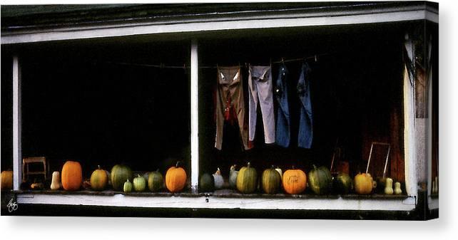 Pumpkins Canvas Print featuring the photograph Pumpkins And A Washline by Wayne King