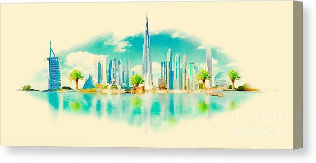 Gouache Canvas Print featuring the digital art Watercolor Vector Panoramic Dubai by Trentemoller