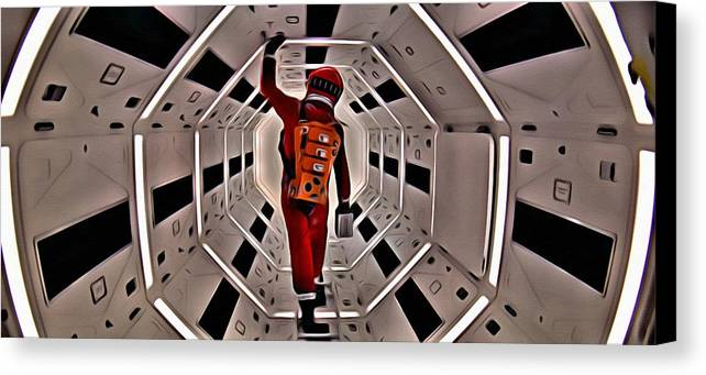 2001 Canvas Print featuring the painting 2001 A Space Odyssey by Florian Rodarte