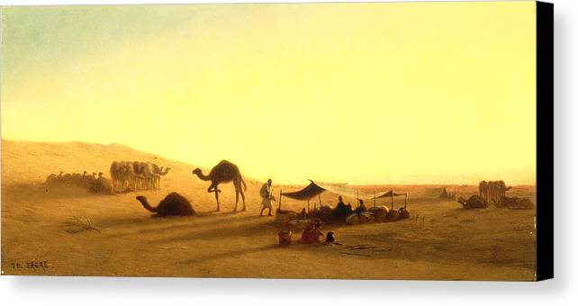 Arab; Encampment; Desert; Camp; Tent; Canopy; Camel; Camels; Dawn; Dusk; Morning; Evening; Sunrise; Sunset; Sundown; Golden; Glow; Nomad; Nomads; Nomadic; Traveller; Travellers; Travel; Camel; Train; Arab; Arabs; Arabian; Arid; Heat; Orientalist; Middle East; Middle Eastern; Sand; Dune; Dunes Canvas Print featuring the painting An Arab Encampment by Charles Theodore Frere