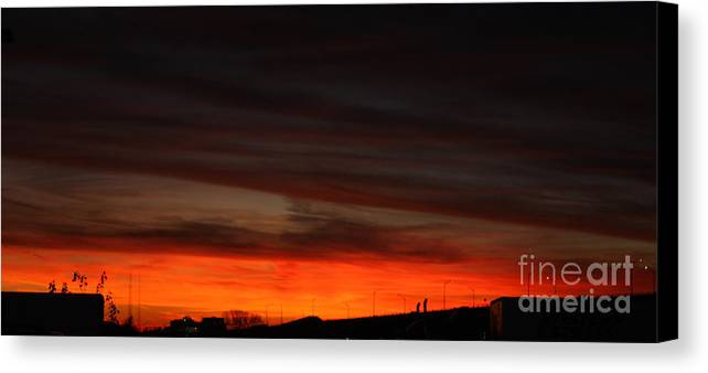 Burning Night Time Sky Canvas Print featuring the photograph Burning Night Time Sky by John Telfer