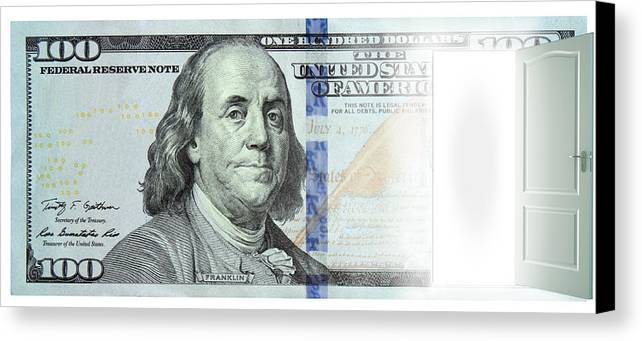 Money Canvas Print featuring the photograph Door In Dollar by Faisal Khalid