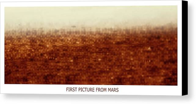 Astronomy Canvas Print featuring the photograph First Picture From Mars 3 Probe by Russian Academy Of Sciences/detlev Van Ravenswaay