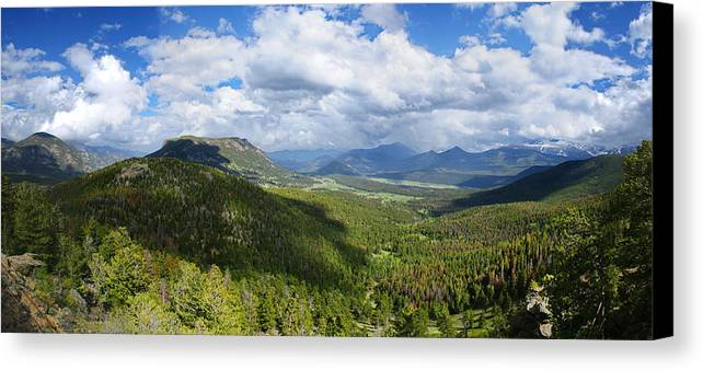 Rocky Mountain National Park Canvas Print featuring the photograph Rocky Mountain National Park Panorama by Alan Hutchins
