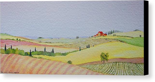 Watercolor Canvas Print featuring the painting Tuscan Hillside Three by Mary Ellen Mueller Legault