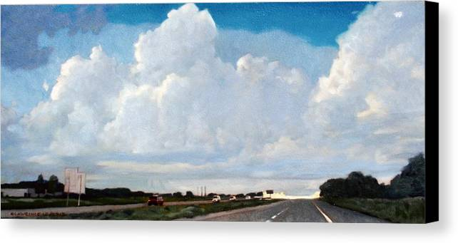 Street Canvas Print featuring the painting Interstate 10 by Kevin Lawrence Leveque