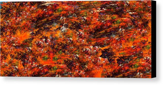 Abstract Digital Painting Canvas Print featuring the digital art Autumn Riot by David Lane