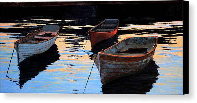 Woodboat Canvas Print featuring the painting Calm Waters IIi by Dollahite Studios