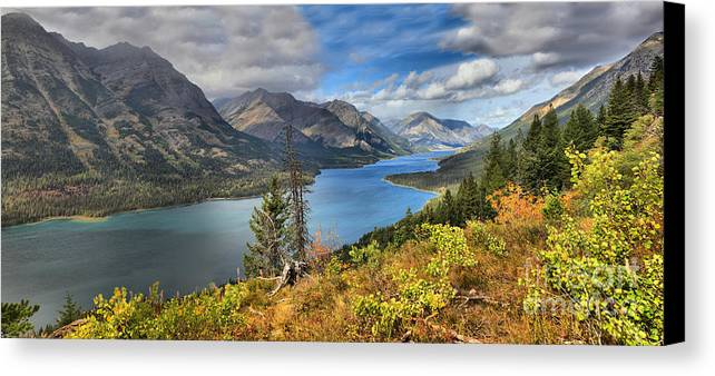 Goat Haunt Panorama Canvas Print featuring the photograph Goat Haunt Panorama by Adam Jewell