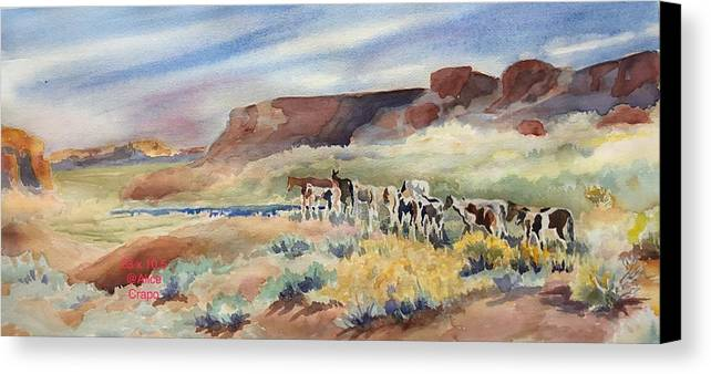 Horses. Utah Canvas Print featuring the painting Into The Dessert Near Bluff, Ut by Alice Crapo