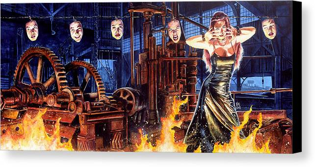 Fantasy Canvas Print featuring the painting Masks by Ken Meyer jr